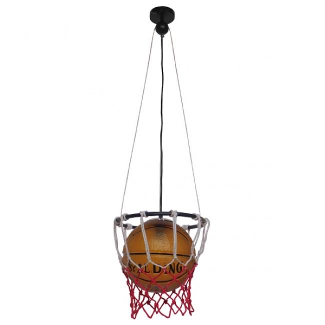 Μοντέρνο Κρεμαστό Φωτιστικό Οροφής Μονόφωτο Πορτοκαλί Μεταλλικό Πλέγμα Φ32 GloboStar NBA  01027 - 2