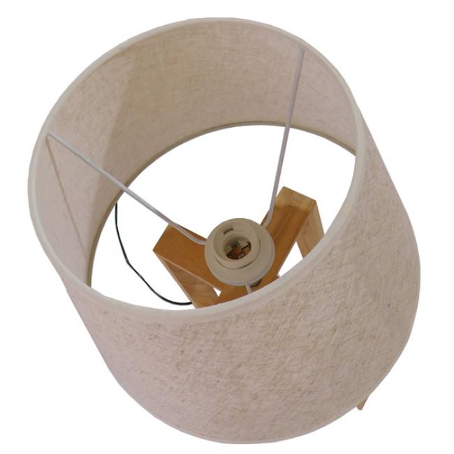Μοντέρνο Επιτραπέζιο Φωτιστικό Πορτατίφ Μονόφωτο Ξύλινο με Μπεζ Καπέλο Φ30 GloboStar SQUID 01265 - 8