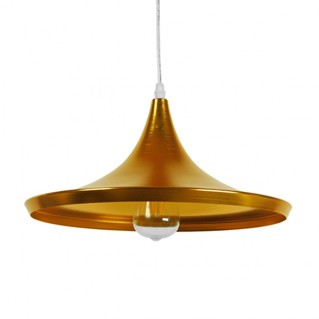 Μοντέρνο Κρεμαστό Φωτιστικό Οροφής Μονόφωτο Χρυσό Μεταλλικό Καμπάνα Φ37 GloboStar JIAXING 01545 - 1