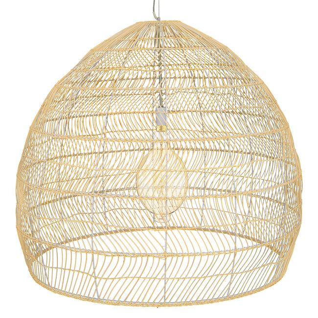 GloboStar® MALIBU 00974 Vintage Κρεμαστό Φωτιστικό Οροφής Μονόφωτο Μπεζ Ξύλινο Bamboo Φ97 x Y86cm - 5