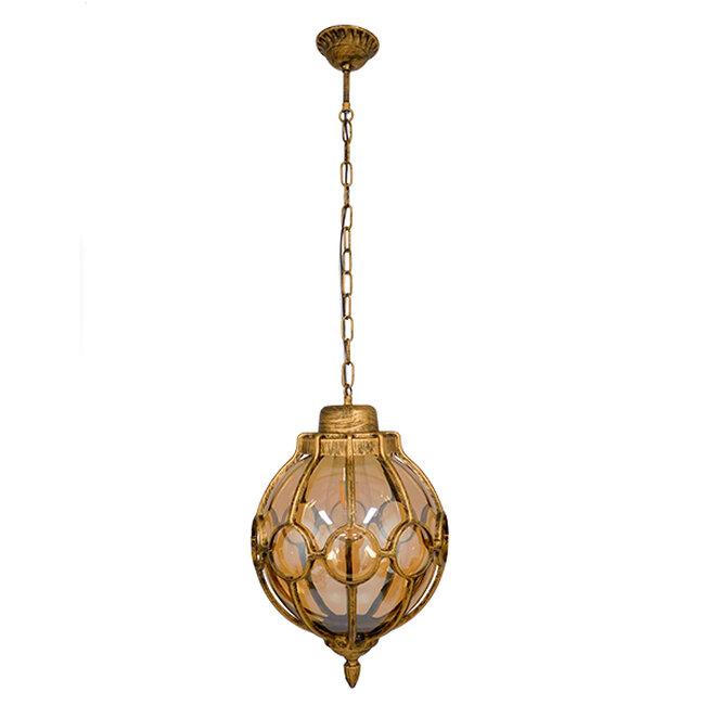 ETOILE 00987 Vintage Industrial Κρεμαστό Φωτιστικό Οροφής Μονόφωτο Μπρονζέ Χρυσό Μεταλλικό Πλέγμα με Μελί Γυαλί Φ28 x Υ38cm - 2