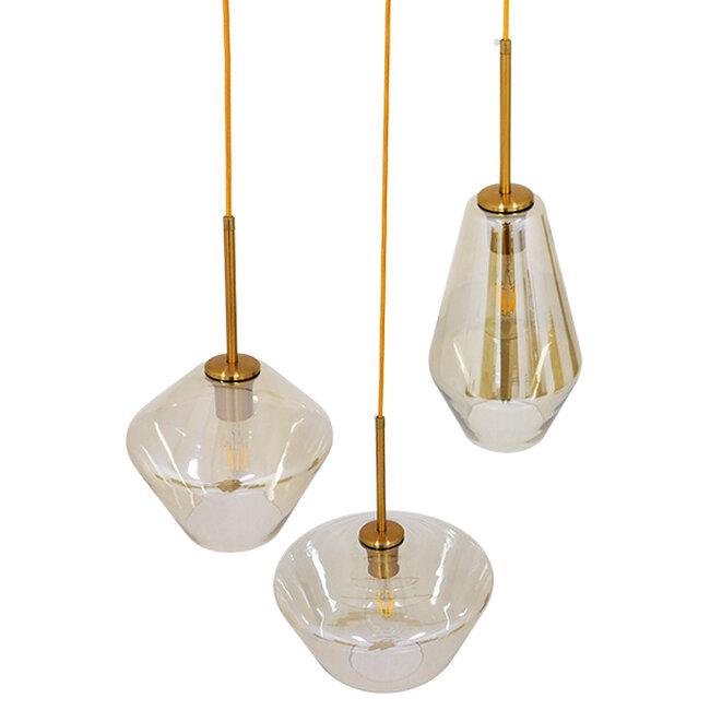 Μοντέρνο Κρεμαστό Φωτιστικό Οροφής Τρίφωτο Μελί Χρυσό με Γυαλί Φ50  ACATIA 00978 - 3
