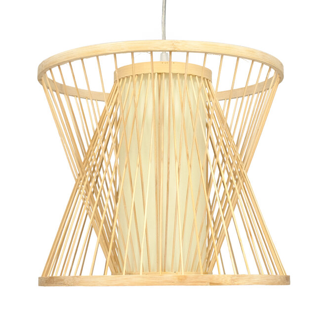 GloboStar® DE PARIS 01632 Vintage Κρεμαστό Φωτιστικό Οροφής Μονόφωτο Μπεζ Ξύλινο Bamboo Φ35 x Y32cm - 4