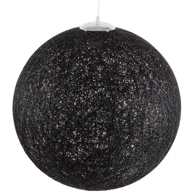 Vintage Κρεμαστό Φωτιστικό Οροφής Μονόφωτο Μαύρο Ξύλινο Ψάθινο Rattan Φ60  TERELL 01364 - 3