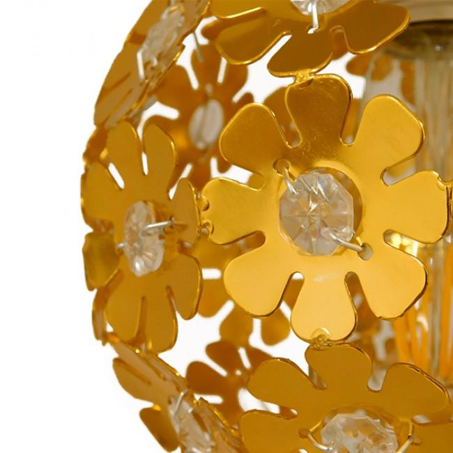 Μοντέρνο Κρεμαστό Φωτιστικό Οροφής Τρίφωτο Χρυσό Μεταλλικό με Κρύσταλλα Φ50 GloboStar MARGARITA 01670 - 5