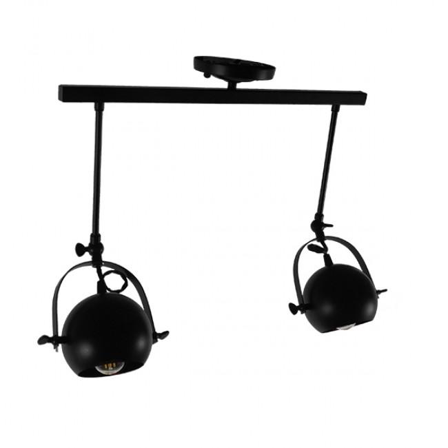 Μοντέρνο Φωτιστικό Οροφής Δίφωτο Μαύρο Μεταλλικό Ράγα  CANNES 01081 - 3