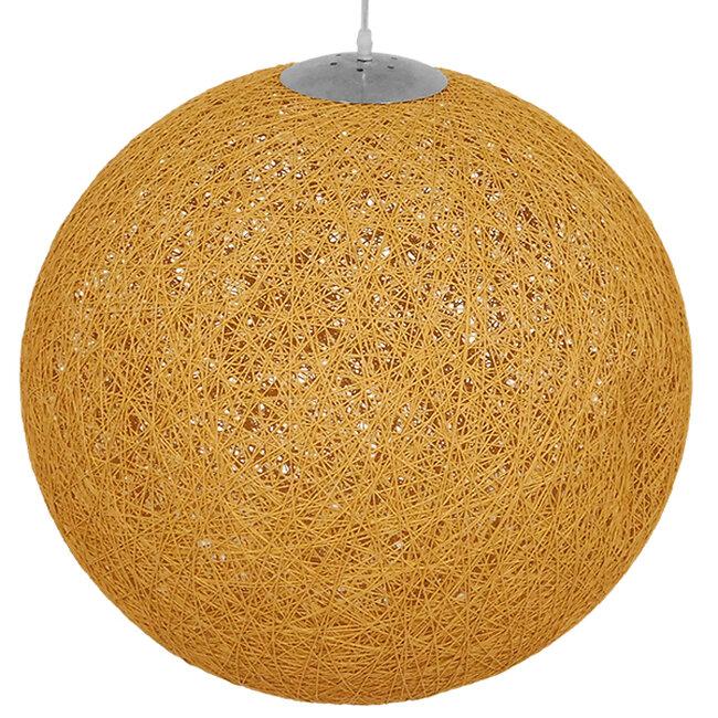 Vintage Κρεμαστό Φωτιστικό Οροφής Μονόφωτο Μπεζ Χρυσό Ξύλινο Ψάθινο Rattan Φ60  LOFT 01361 - 4