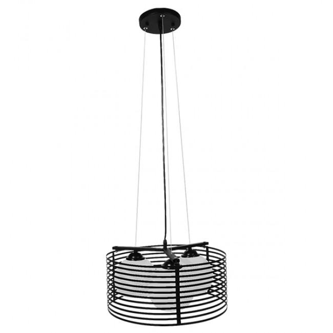 Μοντέρνο Κρεμαστό Φωτιστικό Οροφής Τρίφωτο Μαύρο Μεταλλικό Πλέγμα με Καμπάνα απο Λευκό Γυαλί Φ40 GloboStar KEVIA 01150 - 2