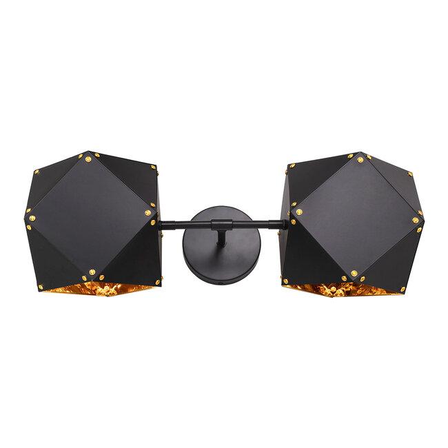 WELLES Replica 00795 Μοντέρνο Φωτιστικό Τοίχου Απλίκα Δίφωτο Μεταλλικό Μαύρο Χρυσό Μ52 x Π21 x Υ17cm - 2