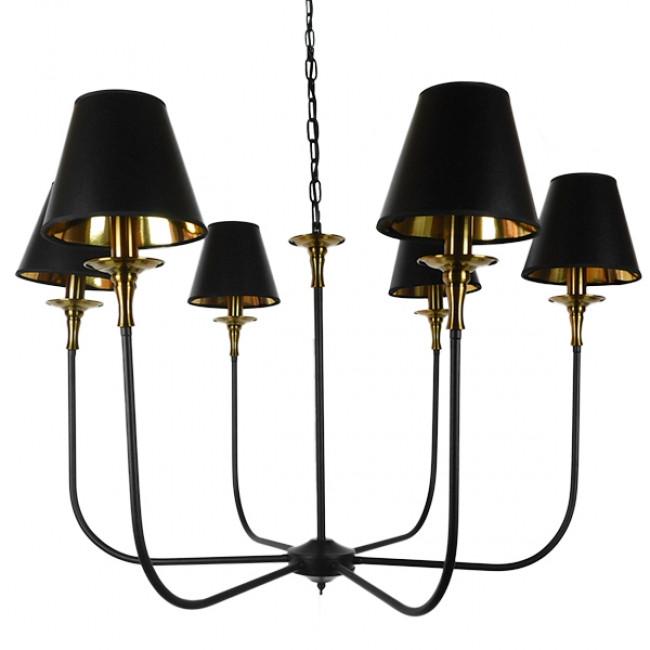 Vintage Industrial Κρεμαστό Φωτιστικό Οροφής Πολύφωτο Μαύρο Μεταλλικό Πολυέλαιος με Καπέλο Φ100 GloboStar LIMI 01092 - 3