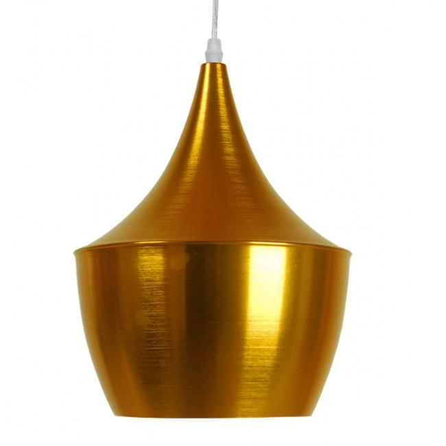 Μοντέρνο Κρεμαστό Φωτιστικό Οροφής Μονόφωτο Χρυσό Μεταλλικό Καμπάνα Φ24 GloboStar NADONG 01544 - 3