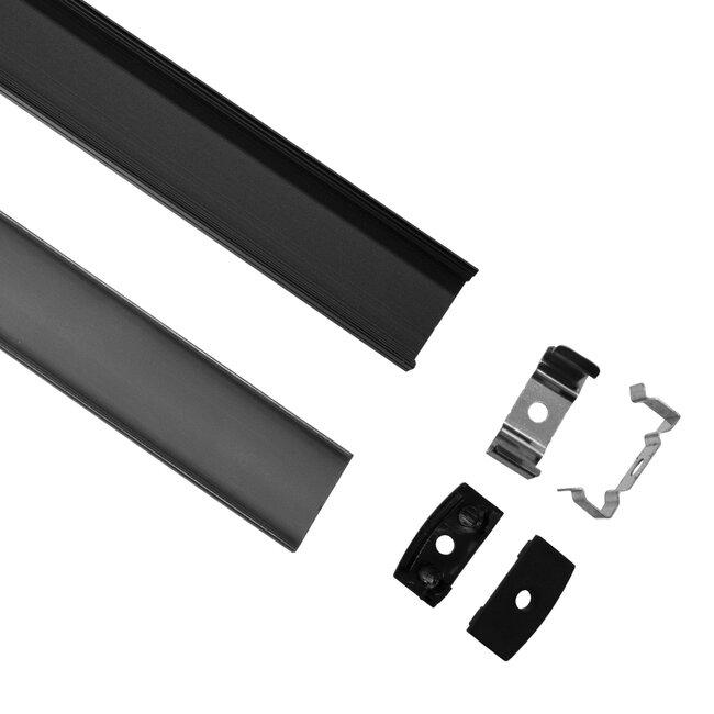 GloboStar® 70810-1M Επιφανειακό Προφίλ Αλουμινίου Μαύρο με Μαύρο Οπάλ Κάλυμμα για 2 Σειρές Ταινίας LED Πατητό - Press On 1 Μέτρο - 2