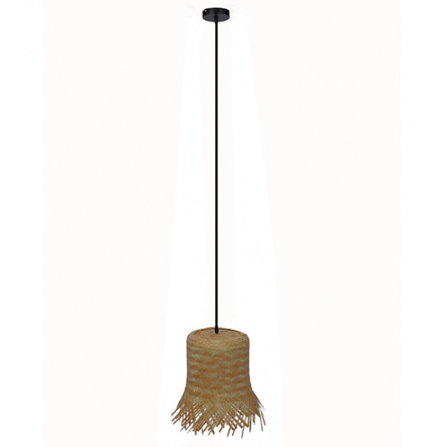 Vintage Κρεμαστό Φωτιστικό Οροφής Μονόφωτο Μπέζ Ξύλινο Ψάθινο Rattan Φ28 GloboStar LΕΕGAR 01201 - 2