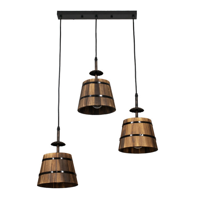 CEBU 00889 ΣΕΤ Vintage Κρεμαστό Φωτιστικό Οροφής Τρίφωτο Μεταλλικό Ξύλινο Μ55.5 x Π18.5 x Y210cm - 3