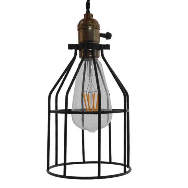 Vintage Industrial Κρεμαστό Φωτιστικό Οροφής Μονόφωτο Μαύρο Μεταλλικό Πλέγμα Φ14  GALOT 01179 - 4
