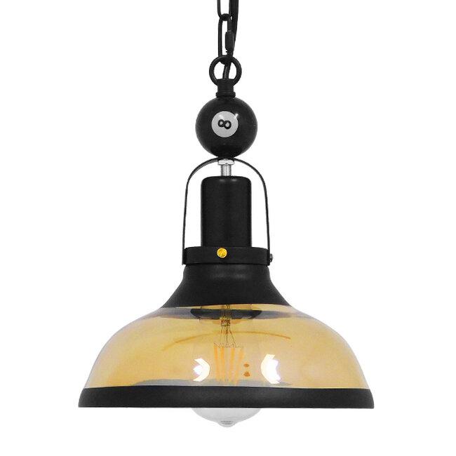 Vintage Industrial Κρεμαστό Φωτιστικό Οροφής Μονόφωτο Mαύρο Μεταλλικό Καμπάνα Φ25  BILLIARD SERIES 00971 - 4