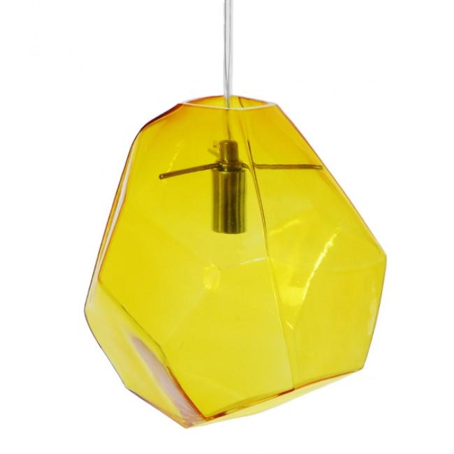 Μοντέρνο Κρεμαστό Φωτιστικό Οροφής Μονόφωτο Γυάλινο Κίτρινο Διάφανο GloboStar RINA 01308 - 4