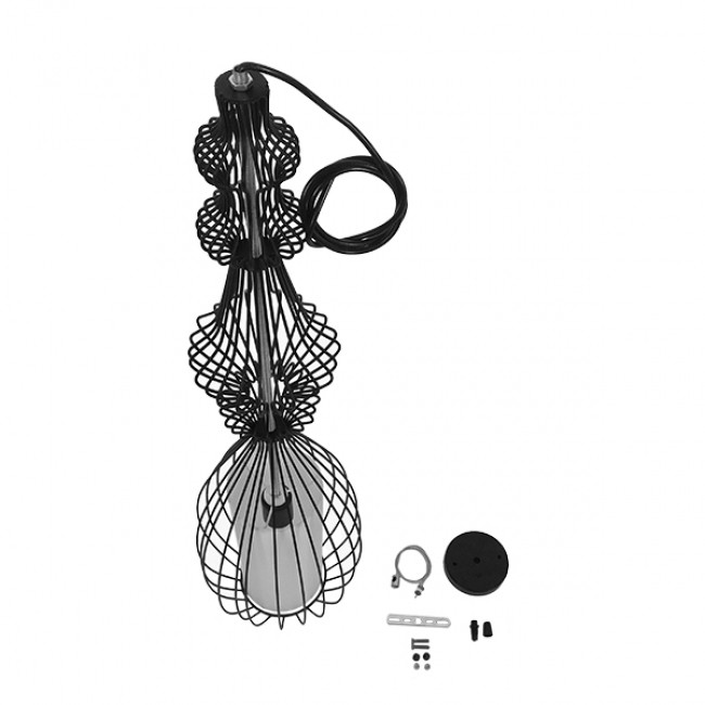 Vintage Industrial Κρεμαστό Φωτιστικό Οροφής Μονόφωτο Μαύρο Μεταλλικό Πλέγμα και Υφασμάτινο Εσωτερικό Καπέλο Φ20 GloboStar CLEO 01561 - 9