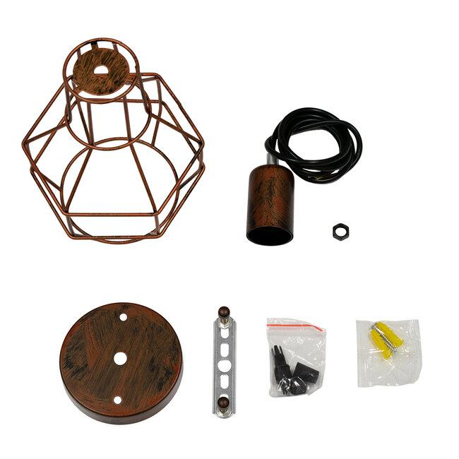 GloboStar® CAGE 00866 Vintage Industrial Κρεμαστό Φωτιστικό Οροφής Μονόφωτο Καφέ Σκουριά Μεταλλικό Πλέγμα Φ15 x Y22cm - 9