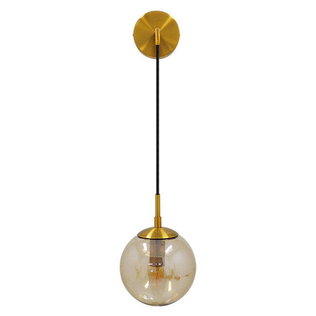 Μοντέρνο Φωτιστικό Τοίχου Απλίκα Μονόφωτο Χρυσό με Μελί Γυαλί Φ15  MADISON 01427 - 2