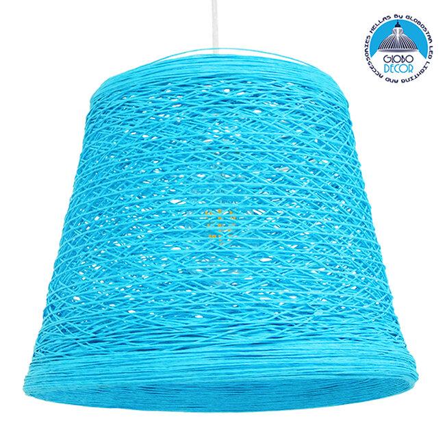 Vintage Κρεμαστό Φωτιστικό Οροφής Μονόφωτο Θαλασσί Ξύλινο Ψάθινο Rattan Φ32  ARGENT SEA BLUE 00995 - 1