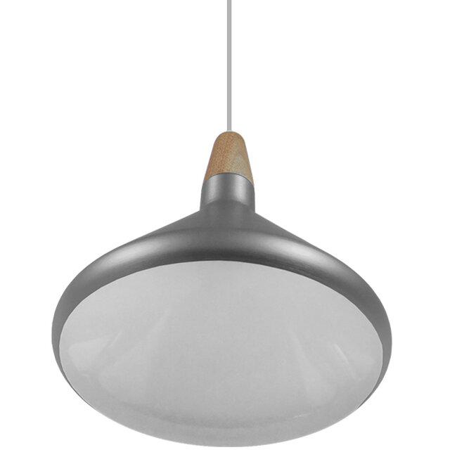 Μοντέρνο Κρεμαστό Φωτιστικό Οροφής Μονόφωτο Ασημί Μεταλλικό Καμπάνα Φ27  PIROZZI 01277 - 4