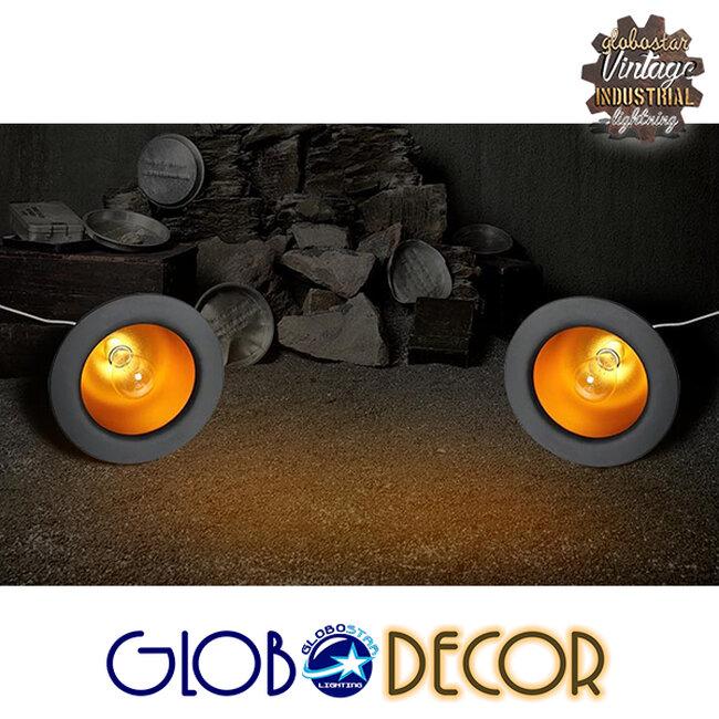 Vintage Κρεμαστό Φωτιστικό Οροφής Μονόφωτο Μαύρο Μεταλλικό Καμπάνα Φ26  CHARLO 01214 - 9