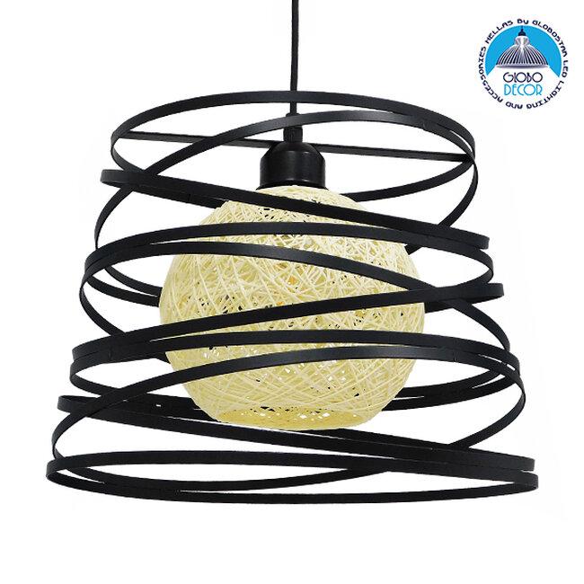 Μοντέρνο Industrial Κρεμαστό Φωτιστικό Οροφής Μονόφωτο Μαύρο με Εκρού Μεταλλικό Πλέγμα Φ32  CARTER Φ32 00961 - 1