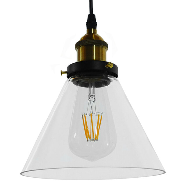 Vintage Κρεμαστό Φωτιστικό Οροφής Μονόφωτο Γυάλινο Καμπάνα Φ18  CONE 01169 - 5