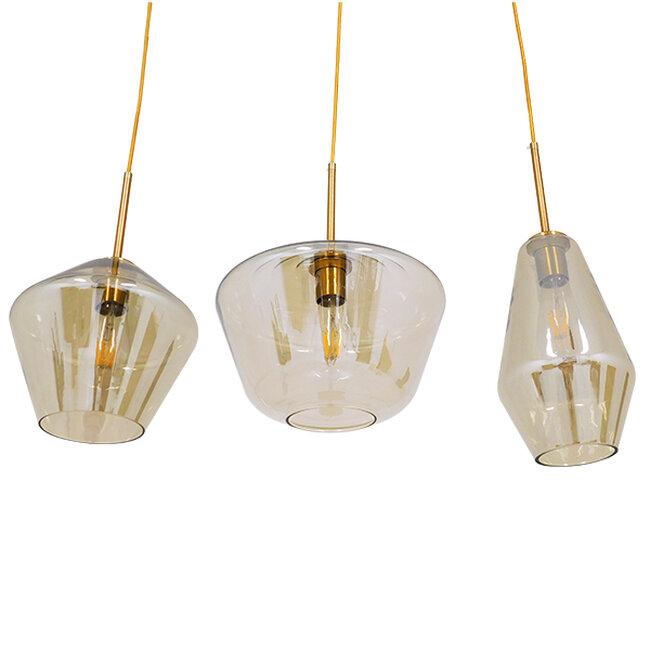 Μοντέρνο Κρεμαστό Φωτιστικό Οροφής Τρίφωτο Μελί Χρυσό με Γυαλί  KETALIN 00977 - 4