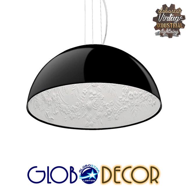 Μοντέρνο Κρεμαστό Φωτιστικό Οροφής Μονόφωτο Μαύρο Γύψινο Καμπάνα Φ40  SERENIA BLACK 01151 - 1