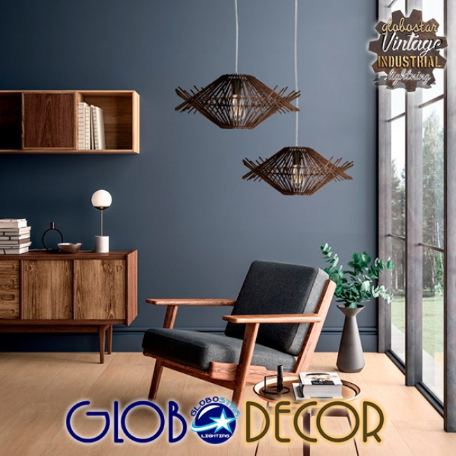 Vintage Κρεμαστό Φωτιστικό Οροφής Μονόφωτο Καφέ Σκούρο Ξύλινο Ψάθινο Rattan Φ50  MADDY 01602 - 8