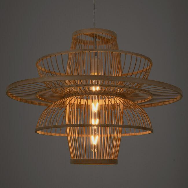 BALI 00862 Vintage Κρεμαστό Φωτιστικό Οροφής Μονόφωτο Μπεζ Ξύλινο Bamboo Φ60 x Y45cm - 3
