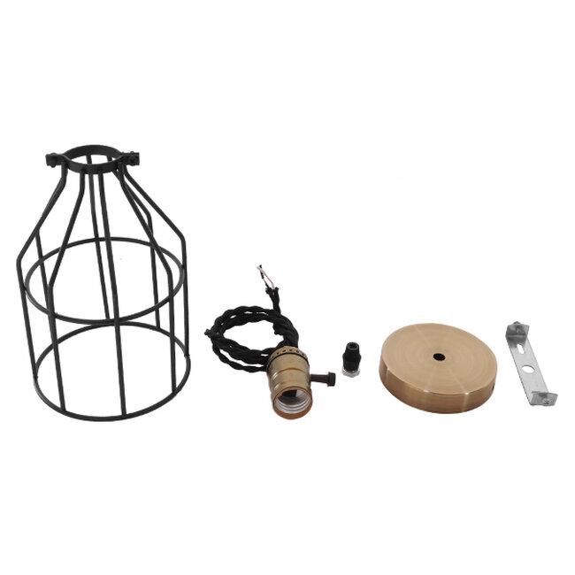 Vintage Industrial Κρεμαστό Φωτιστικό Οροφής Μονόφωτο Μαύρο Μεταλλικό Πλέγμα Φ14  GALOT 01179 - 7