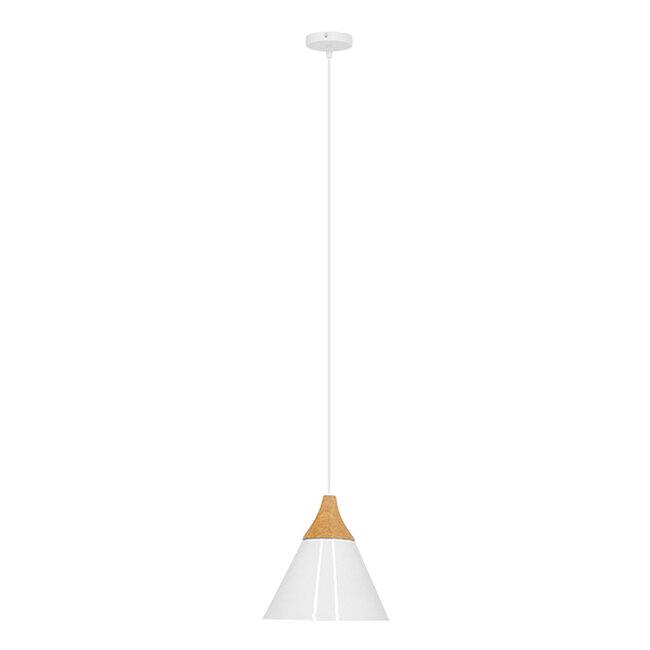Μοντέρνο Κρεμαστό Φωτιστικό Οροφής Μονόφωτο Λευκό Μεταλλικό με Ξύλο Καμπάνα Φ23  SHADE WHITE 00907 - 2