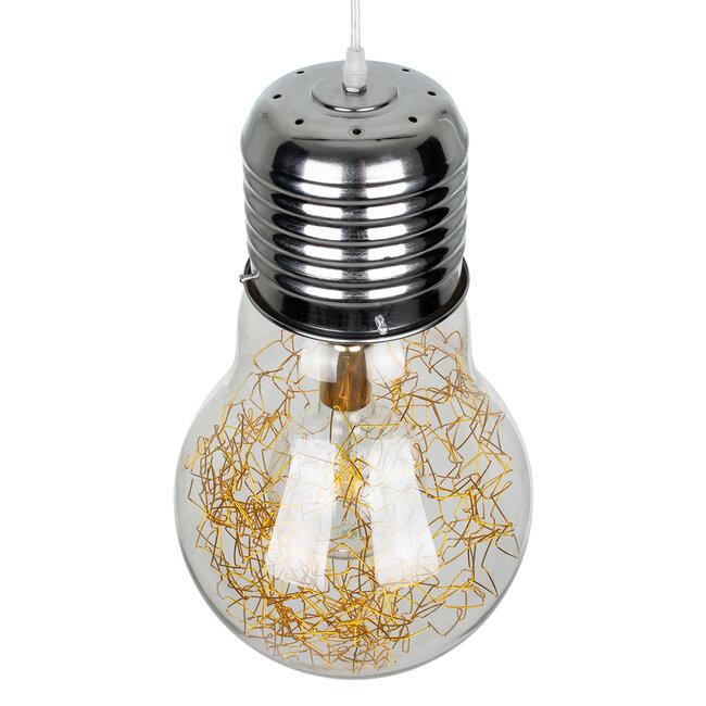 LAMP 00808 Μοντέρνο Κρεμαστό Φωτιστικό Οροφής Μονόφωτο Ασημί Νίκελ Βάση και Χρυσό Ντουί Μεταλλικό Διάφανο Γυαλί Φ30 x Υ52cm - 6