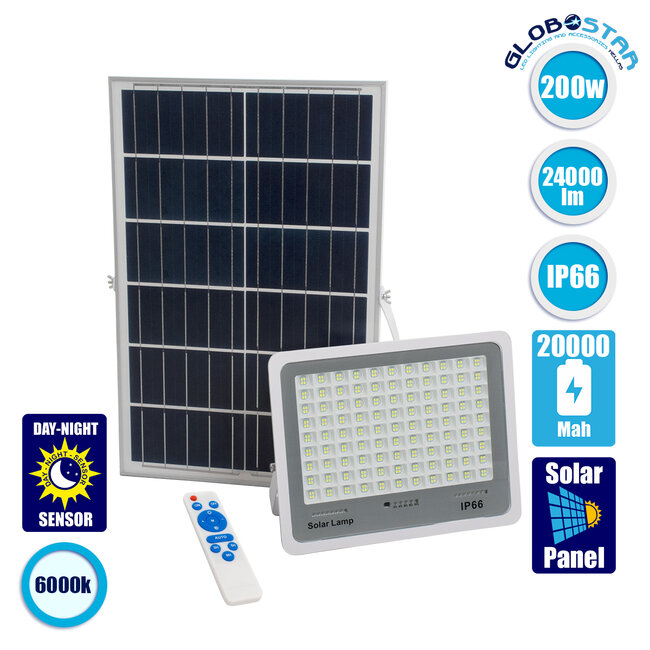 GloboStar® 71561 Αυτόνομος Ηλιακός Προβολέας LED SMD 200W 24000lm με Ενσωματωμένη Μπαταρία 20000mAh - Φωτοβολταϊκό Πάνελ με Αισθητήρα Ημέρας-Νύχτας και Ασύρματο Χειριστήριο RF 2.4Ghz Αδιάβροχος IP66 Ψυχρό Λευκό 6000K - 1