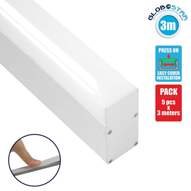70831-3M BABYLON Linear Γραμμικό Αρχιτεκτονικό Προφίλ Αλουμινίου Λευκό με Λευκό Οπάλ Κάλυμμα για 2 Σειρές Ταινίας LED Πατητό - Press On 3 Μέτρων