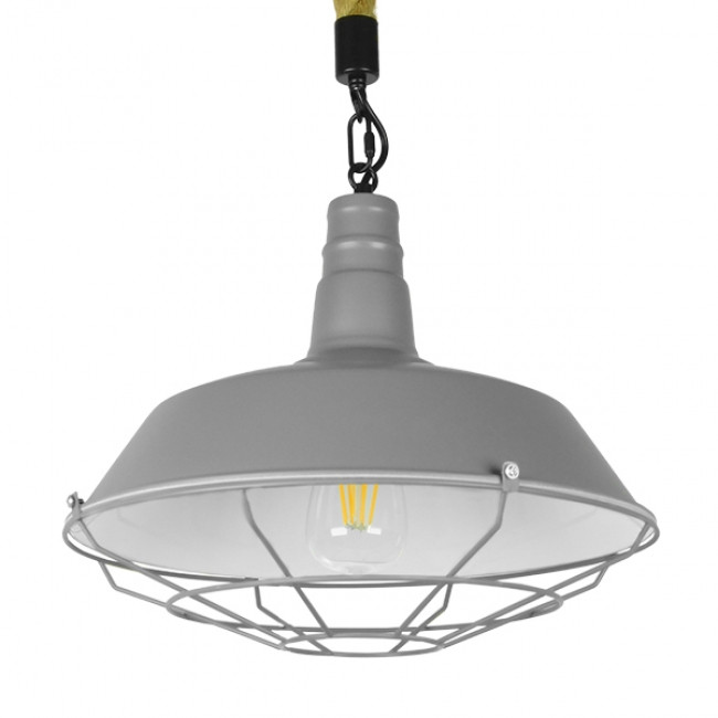 Vintage Industrial Κρεμαστό Φωτιστικό Οροφής Μονόφωτο Γκρι Λευκό Μεταλλικό Καμπάνα Πλέγμα με Μπεζ Σχοινί Φ36 GloboStar LUCI 01411 - 1