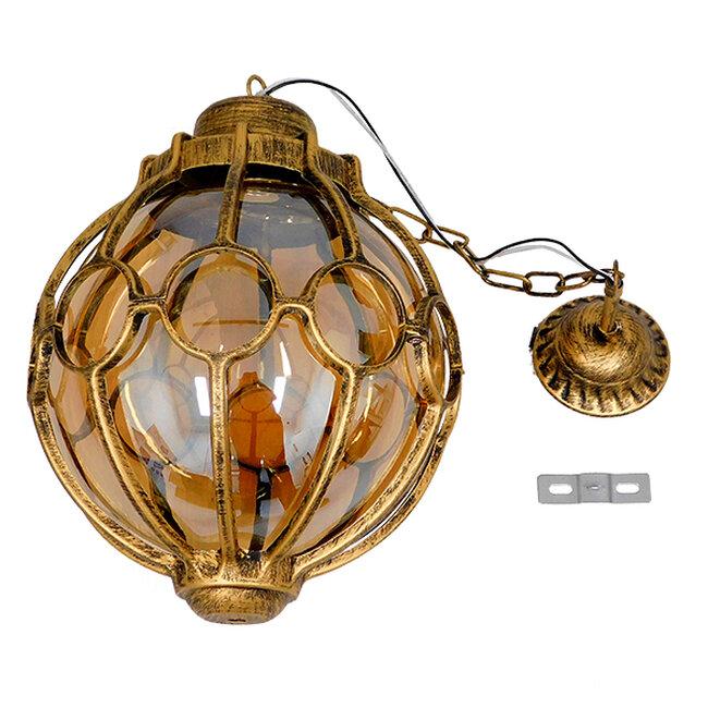 ETOILE 00987 Vintage Industrial Κρεμαστό Φωτιστικό Οροφής Μονόφωτο Μπρονζέ Χρυσό Μεταλλικό Πλέγμα με Μελί Γυαλί Φ28 x Υ38cm - 8