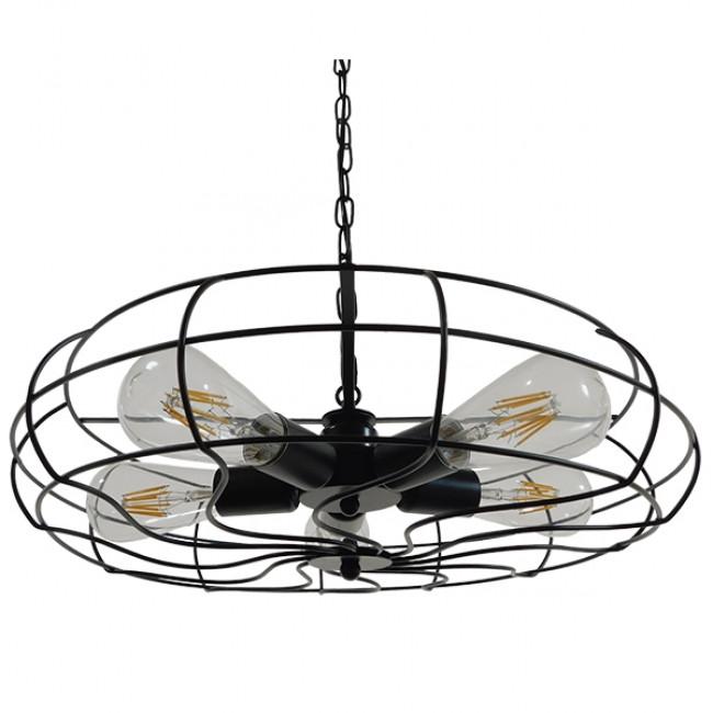 Vintage Industrial Κρεμαστό Φωτιστικό Οροφής Πολύφωτο Μαύρο Μεταλλικό Πλέγμα Φ46  HELIX 01164 - 1