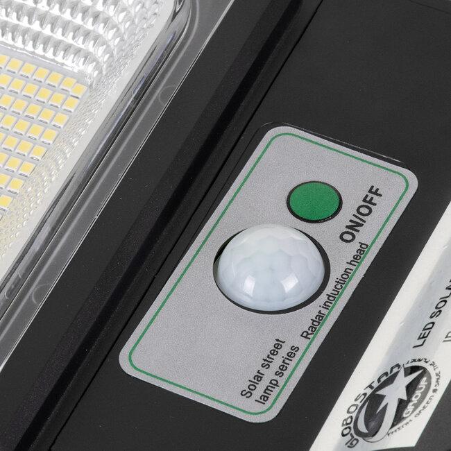GloboStar® 71552 Αυτόνομο Ηλιακό Φωτιστικό Δρόμου Street Light All In One LED SMD 150W 12000lm με Ενσωματωμένη Μπαταρία Li-ion 9000mAh - Φωτοβολταϊκό Πάνελ με Αισθητήρα Ημέρας-Νύχτας PIR Αισθητήρα Κίνησης και Ασύρματο Χειριστήριο RF 2.4Ghz Αδιάβροχο - 9