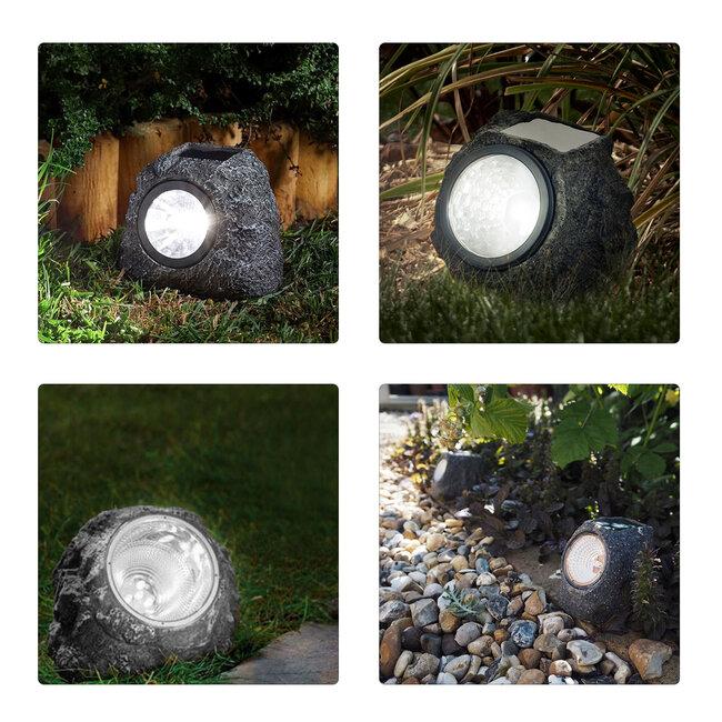71484 Αυτόνομο Ηλιακό Φωτιστικό LED SMD 1W 100lm με Ενσωματωμένη Μπαταρία 600mAh - Φωτοβολταϊκό Πάνελ με Αισθητήρα Ημέρας-Νύχτας Αδιάβροχο IP65 Διακοσμητική Πέτρα - Βράχος Κήπου Ψυχρό Λευκό 6000K - 8