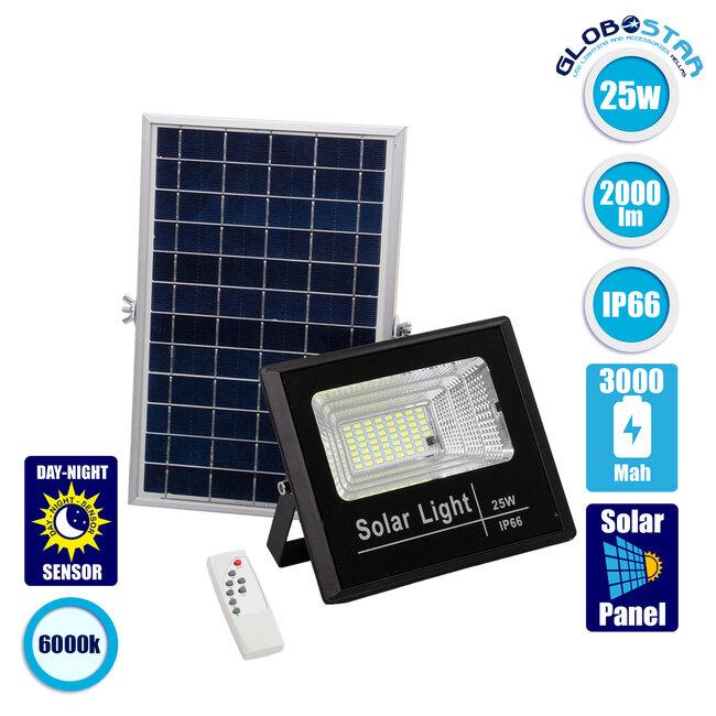 71554 Αυτόνομος Ηλιακός Προβολέας LED SMD 25W 2000lm με Ενσωματωμένη Μπαταρία 3000mAh - Φωτοβολταϊκό Πάνελ με Αισθητήρα Ημέρας-Νύχτας και Ασύρματο Χειριστήριο RF 2.4Ghz Αδιάβροχος IP66 Ψυχρό Λευκό 6000K - 1