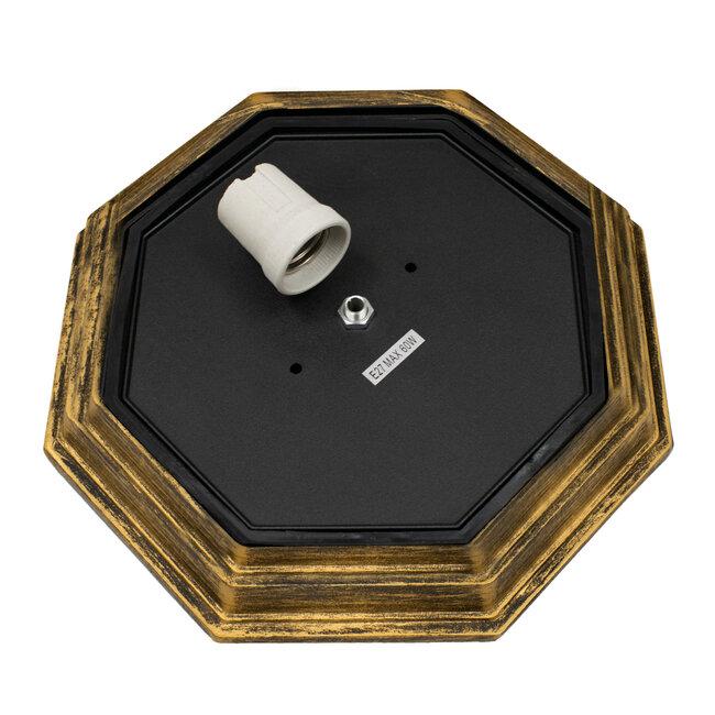 RUBY 00914 Vintage Μεταλλικό Φωτιστικό Πλαφονιέρα Οροφής - Απλίκα Τοίχου από Αλουμίνιο με Ντουί E27 Μονόφωτο Μπρούτζινο Σκουριά με Γαλακτερό Γυαλί Μ27 x Π27 x Υ12cm - 7