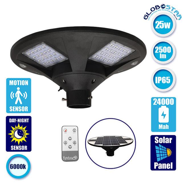 Αυτόνομο Αδιάβροχο IP65 Ηλιακό Φωτοβολταϊκό Φωτιστικό LED 25W με Ανιχνευτή Κίνησης, Αισθητήρα Νυχτός και Ασύρματο Χειριστήριο Ψυχρό Λευκό  12112