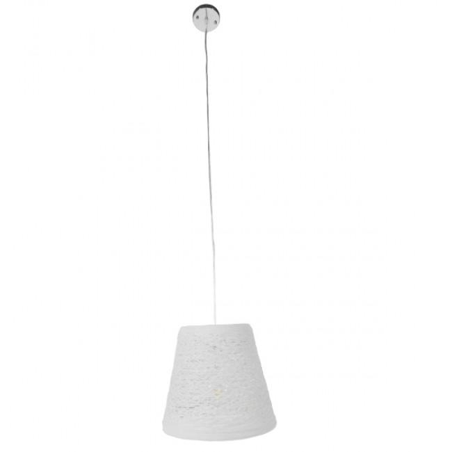 Vintage Κρεμαστό Φωτιστικό Οροφής Μονόφωτο Λευκό Ξύλινο Ψάθινο Rattan Φ32 GloboStar ARGENT 01562 - 2