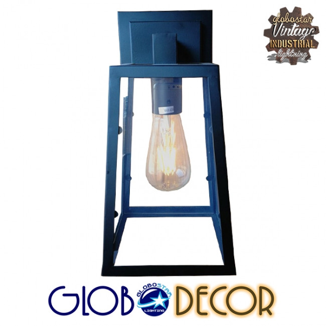 Vintage Industrial Φωτιστικό Τοίχου Απλίκα Μονόφωτο Μαύρο Μεταλλικό Πλέγμα με Γυαλί GloboStar ASETYLIN 01032 - 2