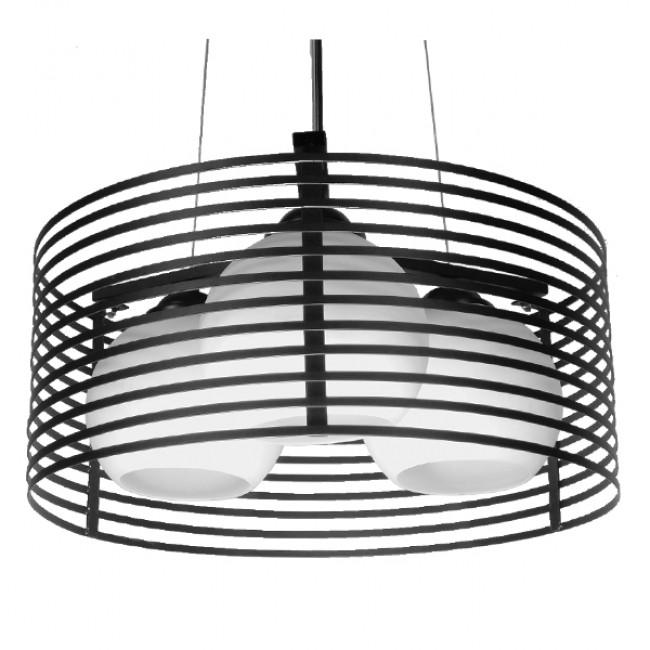 Μοντέρνο Κρεμαστό Φωτιστικό Οροφής Τρίφωτο Μαύρο Μεταλλικό Πλέγμα με Καμπάνα απο Λευκό Γυαλί Φ40 GloboStar KEVIA 01150 - 1