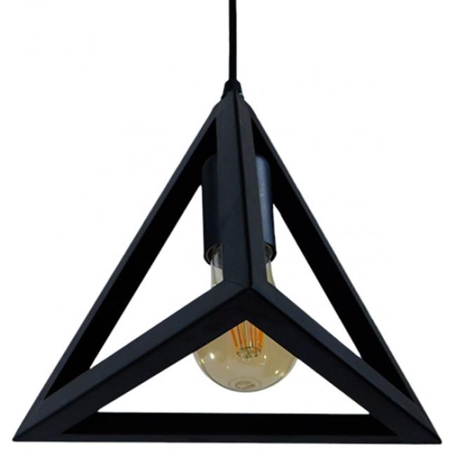 Μοντέρνο Κρεμαστό Φωτιστικό Οροφής Μονόφωτο Μαύρο Μεταλλικό Πλέγμα Φ25 GloboStar TRIANGLE 01063 - 8
